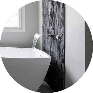 Quality Features in Modern and Minimal Bathroom Remodel Waterfall Tub Faucet into Standalone Tub | Compelling Homes