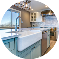 Farmhouse Sink Modern Farmhouse Kitchen with Industrial Lighting and Colored Cabinetry Timeless Kitchen Designs for Your Des Moines Remodel