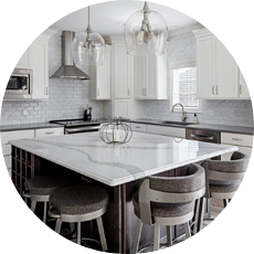 Kitchen Island in Modern Neutral Palette Kitchen Granite Eat-In Island Countertop Timeless Kitchen Designs for Your Des Moines Remodel | Compelling Homes