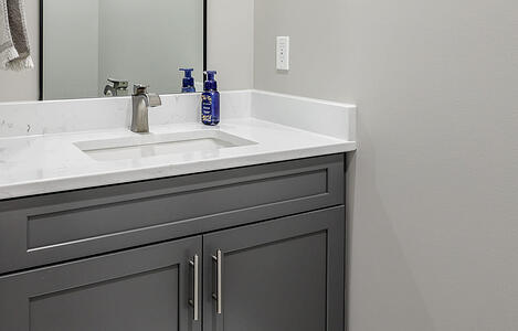 Basement Remodel Private Basement Bathroom Modern Cabinetry with Modern Fixtures | Compelling Homes Remodeling & Design