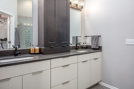 Bathroom Remodel White and Grey Cabinets with Modern Hardware Finishes
