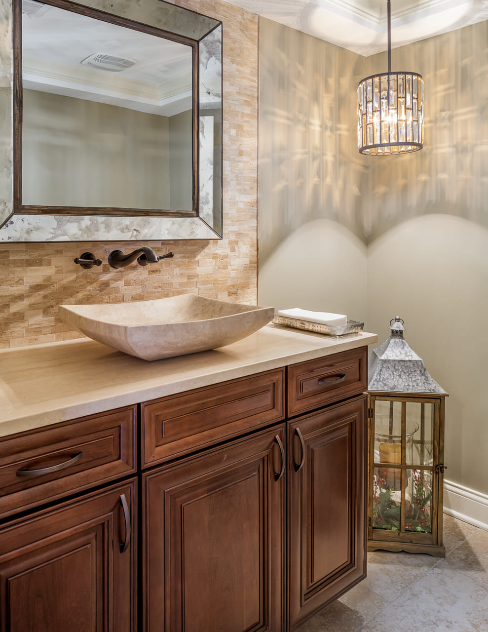 Beautiful Bathroom with Stone and Natural Accents in Walk Out Basement | Compelling Homes Des Moines, IA
