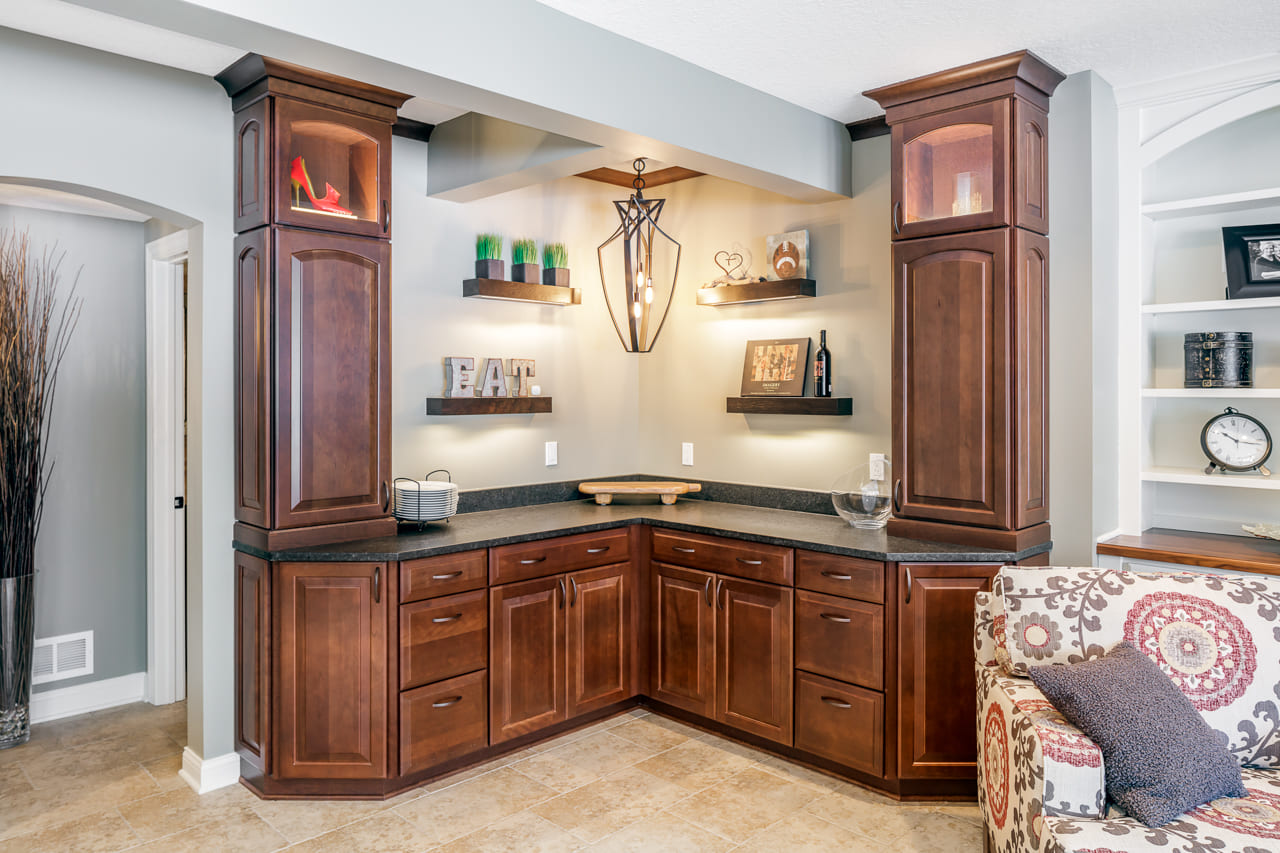 Custom Buffet Area for Enteratining in Walk Out Basement Remodel with Wine Bar | Compelling Homes Des Moines, IA
