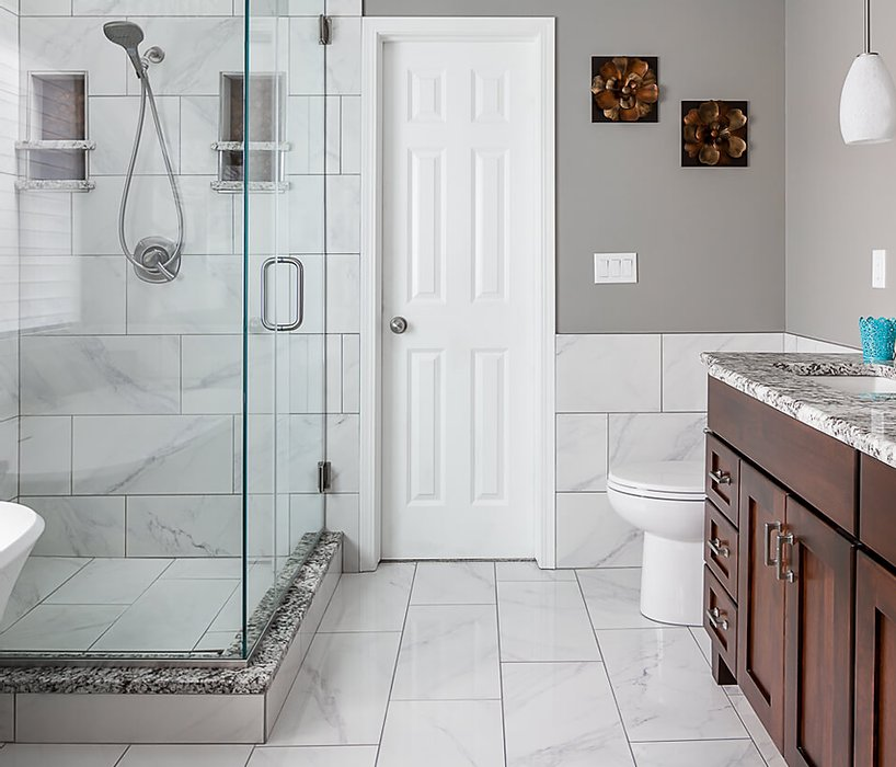 Tile and custom cabinets in this remdeled master bath